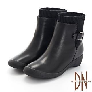 【DN】短靴_牛皮拼接羅紋布低跟楔型短靴(黑)