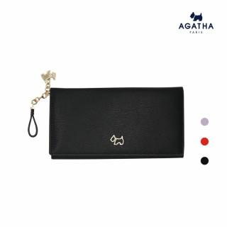 【AGATHA】經典Scottie吊飾牛皮長錢夾(有拉鍊格可放零錢)