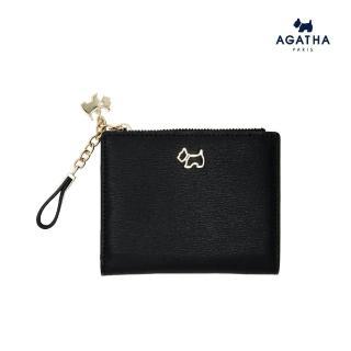 【AGATHA】經典Scottie吊飾牛皮短錢夾(一般長夾的一半尺寸可放紙鈔)