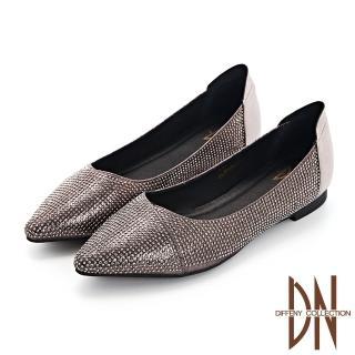 【DN】跟鞋_耀眼水鑽點綴真皮尖頭低跟鞋(銀灰)