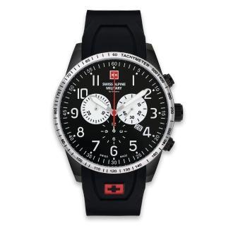 【S.A.M 阿爾卑斯軍錶】狂蜂系列-大黃蜂/黑色錶盤/不鏽鋼鍊帶/三眼計時/45mm(7082.9877SAM)