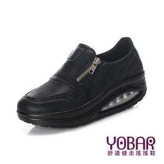 【YOBAR】特殊霧面金屬防水皮革氣墊美腿搖搖運動鞋(黑)