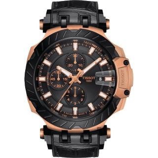 【TISSOT 天梭】T-RACE 計時機械錶-玫瑰金/45mm(T1154273705101)
