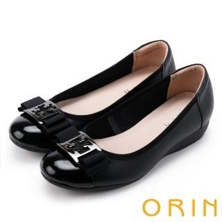 【ORIN】輕熟魅力 經典五金飾釦牛皮娃娃鞋(黑色)