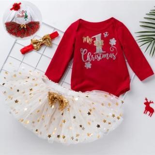 【橘魔法】聖誕節 澎澎裙 包屁衣+髮帶+澎澎裙(包屁衣 造型服 聖誕 寶寶 耶誕節 橘魔法 現貨 抓週 嬰幼兒)