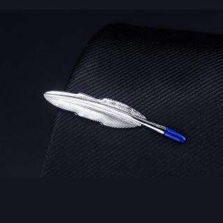 【拉福】領帶夾藍尾葉領夾帶領夾-單領夾(藍尾葉)