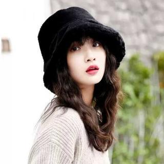 【幸福揚邑】韓版時尚保暖毛絨漁夫帽盆帽平頂帽(黑)