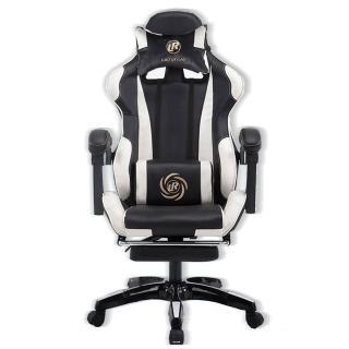 【Ashley House】品牌系列電競椅-LR1001黑白撞色款- 升級置腳台(3D立體側翼內包裹式設計)