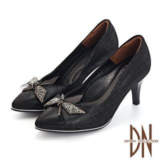 【DN】晚宴鞋_蝴蝶結水鑽真皮壓紋尖頭跟鞋(黑)