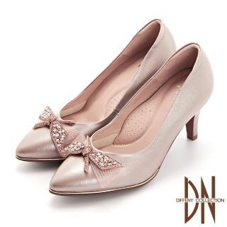 【DN】晚宴鞋_蝴蝶結水鑽真皮壓紋尖頭跟鞋(粉)