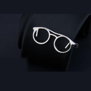 【拉福】領帶夾銀眼鏡襯衫夾領夾-單領夾(銀眼鏡)