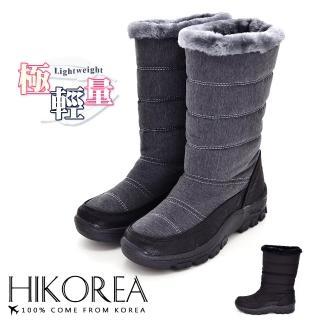 【HIKOREA】正韓製/版型正常。輕量刷色皮革拼接防潑水面料滾邊內鋪毛中筒雪靴(7-3068共2色/現貨)