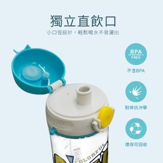 【PUKU 藍色企鵝】Tritan直飲揹帶水壺500ml(藍/粉/黃/綠)