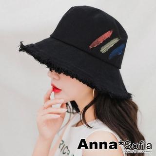 【AnnaSofia】率性毛邊三彩繪 遮陽防曬漁夫帽盆帽(黑系)