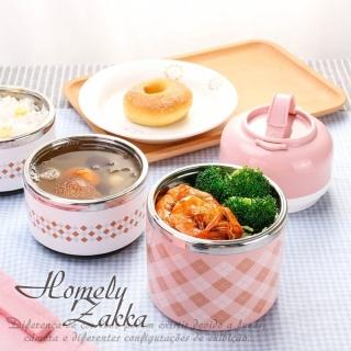 【Homely Zakka】韓式創意炫彩多層頂級不銹鋼保溫飯盒/便當盒 1430ml _北歐粉