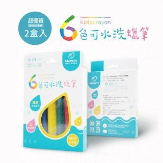 【MIT台灣製 Kidzcrayon 可水洗蠟筆】水洗蠟筆兩盒入 六色/盒(玻璃蠟筆 浴室蠟筆)
