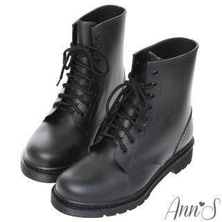 【Ann'S】腳不濕-馬丁造型綁帶百搭短筒雨靴(黑)