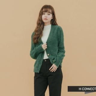 【H:CONNECT】韓國品牌 女裝 -仿皮草排釦針織外套(綠色)