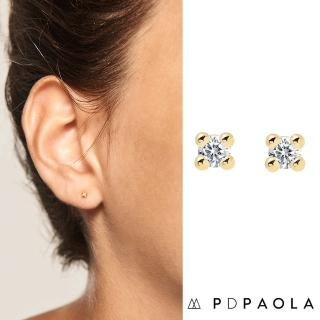 【PD PAOLA】西班牙時尚潮牌 金色單鑽耳環 迷你白鑽耳環(925純銀鑲18K金)