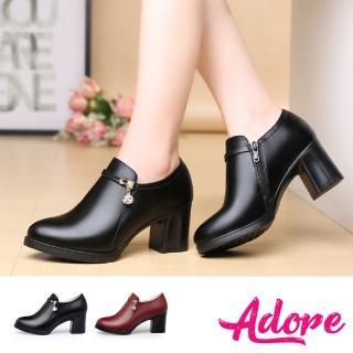 【ADORE】細緻美鑽吊墜百搭經典高跟踝靴(2色任選)