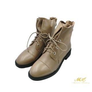 【MK】率性百搭 真皮綁帶短靴(可可灰)