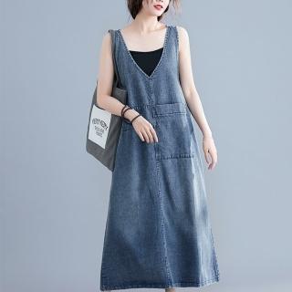 【Aichi 艾齊意】直筒後開衩單口袋吊帶寬鬆牛仔長裙(S-XL)