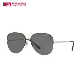 【VOGUE】太陽眼鏡雙槓飛行員款金色框灰色鏡片(4080S-32387)