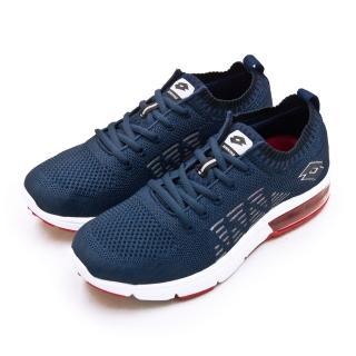 【LOTTO】男 透氣編織緩震氣墊慢跑鞋 BREATHE 系列(藍紅 1126)