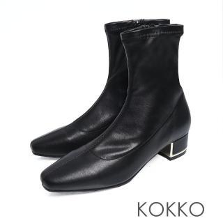 【KOKKO】繁華卡薩布蘭卡金屬跟方頭襪靴(霧面黑)