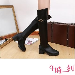 【午時一刻】經典細皮帶釦造型粗跟過膝長靴(2色任選)