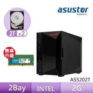 【8G升級組】ASUSTOR AS5202T 搭【TOSHIBA 2TB】2入組 企業級硬碟+【美光】D4 2400 8G筆記型記憶體