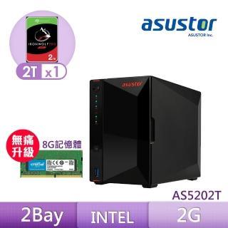 【8G升級組】ASUSTOR AS5202T 搭【希捷 2TB】1入組 NAS PRO硬碟+【美光】D4 2400 8G筆記型記憶體