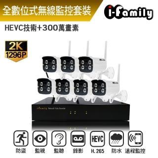 【I-Family】免配線/免設定1296P八路式無線監視系統套裝一機七鏡頭(八路式錄影機套裝)
