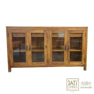 【吉迪市柚木家具】玻璃四門抽屜式收納櫃/腰櫃(RPBU006 收藏 省空間 層架  書架 展示架 陳列架 置物櫃)