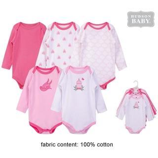 【Luvable Friends】嬰幼兒100%純棉長袖包屁衣5件組_粉鳥飛翔(LF55783)