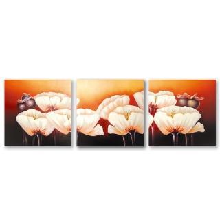 【123 點點貼】三聯式 白色 花卉 油畫風創意無痕壁貼 30X30cm(黃昏下的白花)
