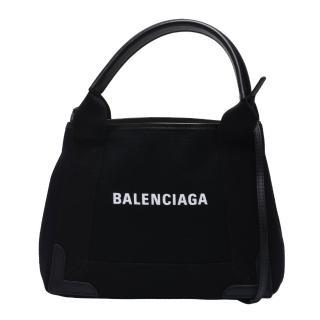 【Balenciaga 巴黎世家】經典NAVY系列帆布牛皮飾邊手提/斜背包(XS-黑色390346-AQ38N-1000)
