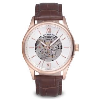 【ALLY DENOVO】古典機械錶玫瑰金框咖色真皮鱷魚紋錶(AM5016.2)