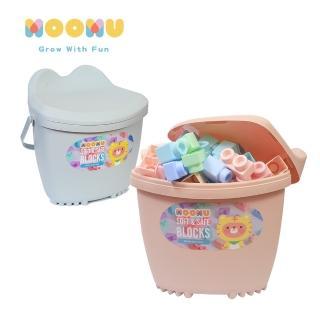 【MOOMU】馬卡龍香草軟積木 120pcs 收納桶裝組(粉/藍)
