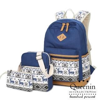 【DF Queenin】實搭3用途雪花麋鹿帆布後背包三件組