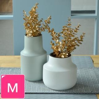 【Meric Garden】日式創意啞光釉陶瓷花瓶/花器(莫蘭迪灰綠M)