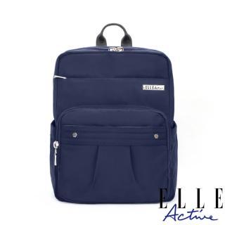 【ELLE active】知性優雅系列-方型後背包-深藍色