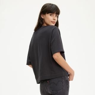 【LEVIS】女款 短袖T恤 / 方正大寬袖剪裁 / 中短版 / 全一色刺繡Serif Logo / 220GSM厚棉 / 黑