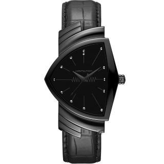 【HAMILTON 漢米爾頓】BEAMS黑潮元素 X VENTURA貓王經典潮黑復刻腕錶(H24401731)