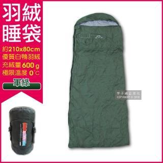 【LMR】信封式防潑水白鴨羽絨睡袋-軍綠色(羽毛充絨量600g適合溫度0-10℃)