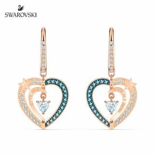 【SWAROVSKI 施華洛世奇】Starry Night Heart 玫金色繁星之心穿孔耳環