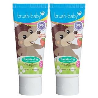 【brush baby】寶寶無氟木糖醇牙膏(天然草莓/50mlx2)
