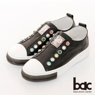 【bac】休閒享樂厚底寶石裝飾懶人休閒鞋(黑色)