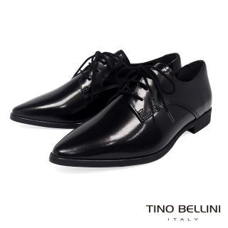 【TINO BELLINI 貝里尼】義大利進口細緻質感牛皮綁帶皮鞋VI8502(黑)