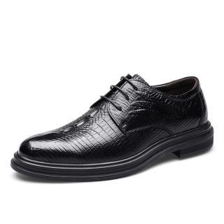 【JP Queen New York】尊榮鱷魚紋真牛皮商務柔軟平底男鞋(黑色)